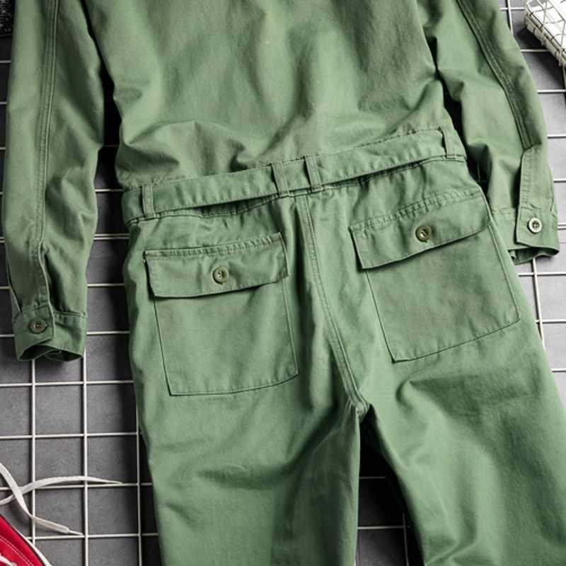 Harajuka Jongen Vriend Stijl Single Breasted Mens Jumpsuit Sjerpen Zakken Vintage Losse Mode Mannelijke Casual Rompertjes Cargo Overalls