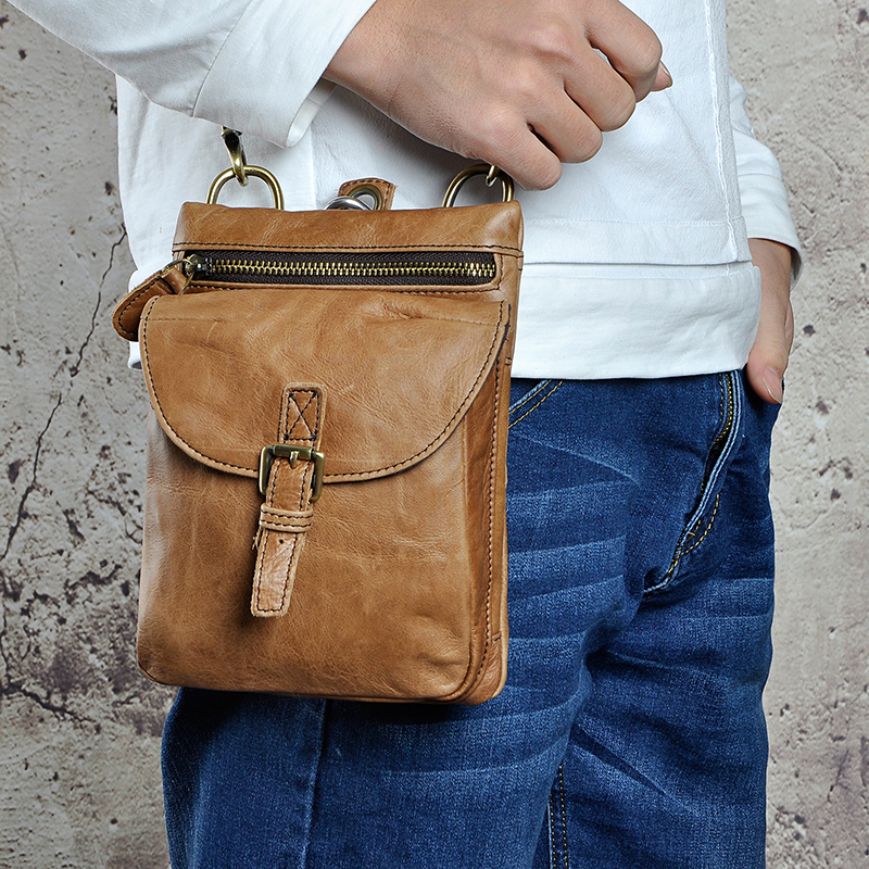 Fashion Quality Original Leather Hook Waist Pack Cross-body Bag 7