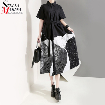 New 2020 Korean Style Women Summer Black Painting Long Shirt Dress With Sash Print Big Size Lady Casual Retro Dresses Robe 5128