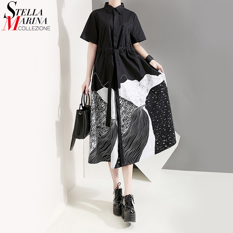 New 2020 Korean Style Women Summer Black Painting Long Shirt Dress With Sash Print Big Size Lady Casual Retro Dresses Robe 5128(China)