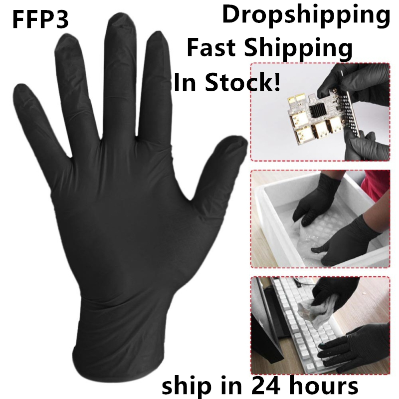 20/100/500 Pcs Disposable Nitrile Latex FFP3 Gloves Waterproof Allergy Free Work Safety Gloves For Medical House Working Gloves
