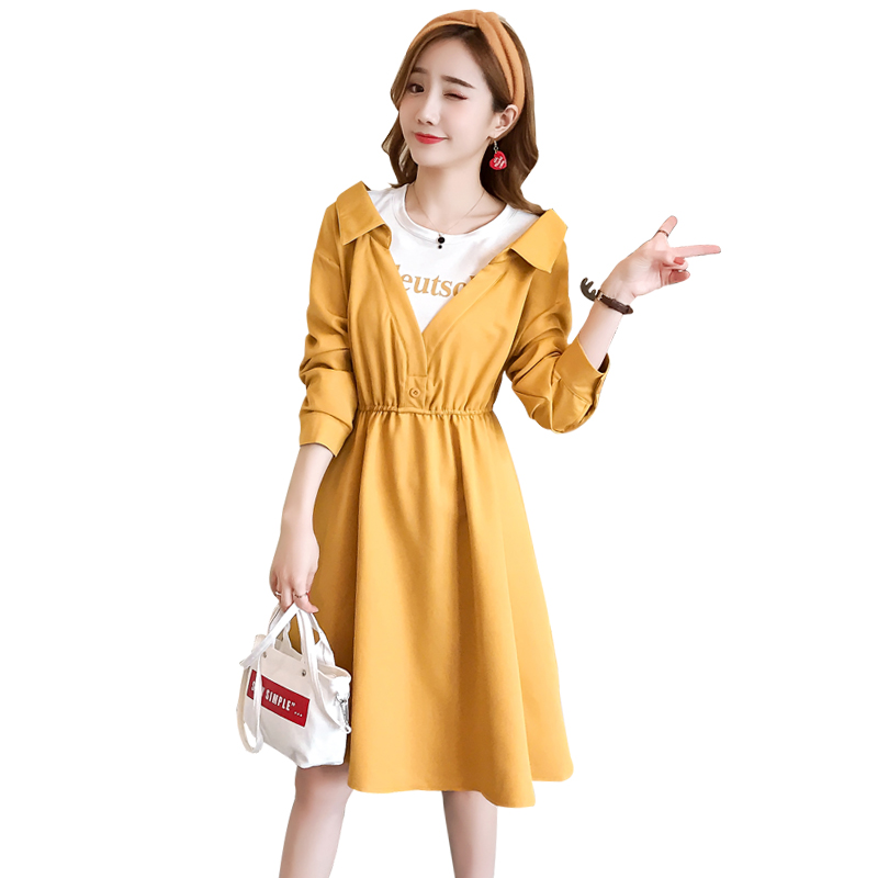 3206# One Pieces Patchwork Maternity Nursing Dress Autumn Fashion Slim Waist Feeding Clothes For Pregnant Women Fall Pregnancy