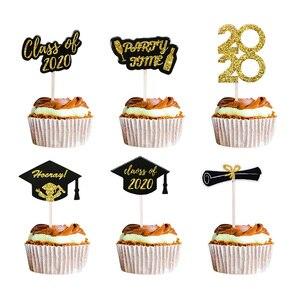 12 штук выпускных кексов, Топпер 2020, вечерние украшения, сувениры, топпер для торта, пищевой выбор, класс 2020, выпускной подарок