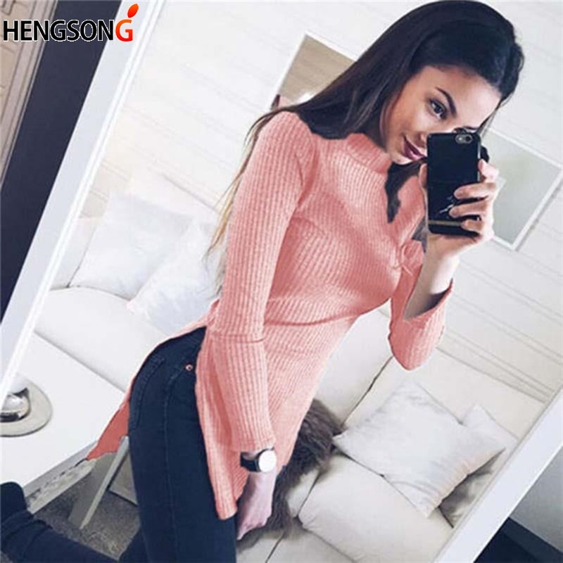 Women Turtleneck Sweaters And Pullovers Fashion Design Elegant Female Tops Split Blusas De Inverno Feminina Pull Femme
