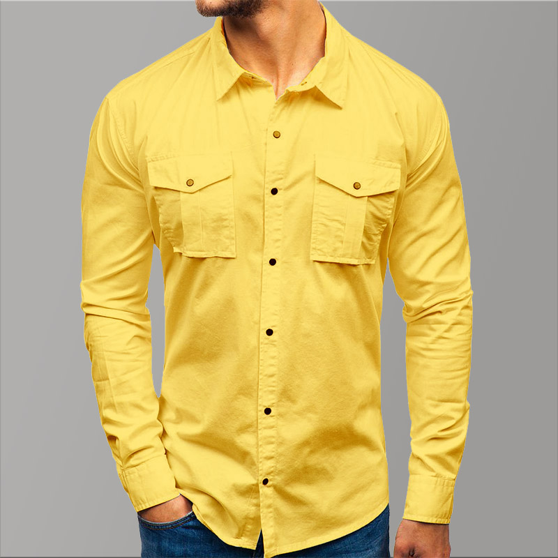 Casual Yellow Shirt Men's Long Sleeve Solid Shirt Men Button Pockets Spring Men Dress Shirt Slim Sit Luxury Cotton Clothing