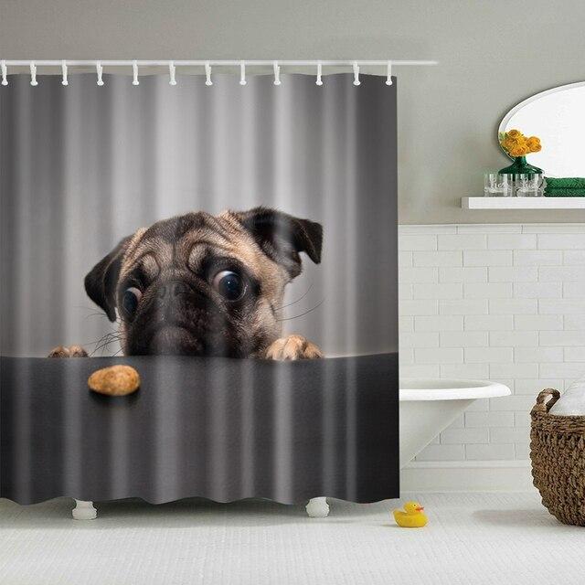 Flamingo hayvan köpek Hippo kedi Polyester pembe duş perdesi yüksek kaliteli yıkanabilir perdeler banyo Decoration150 * 180
