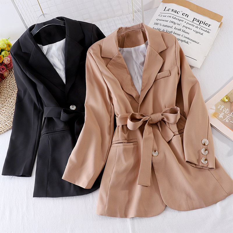 Women Blazer 2020 Formal Blazers Lady Office Work Suit Pockets Jackets Coat Two Buttons Slim Wiast Women Blazer Femme Jackets