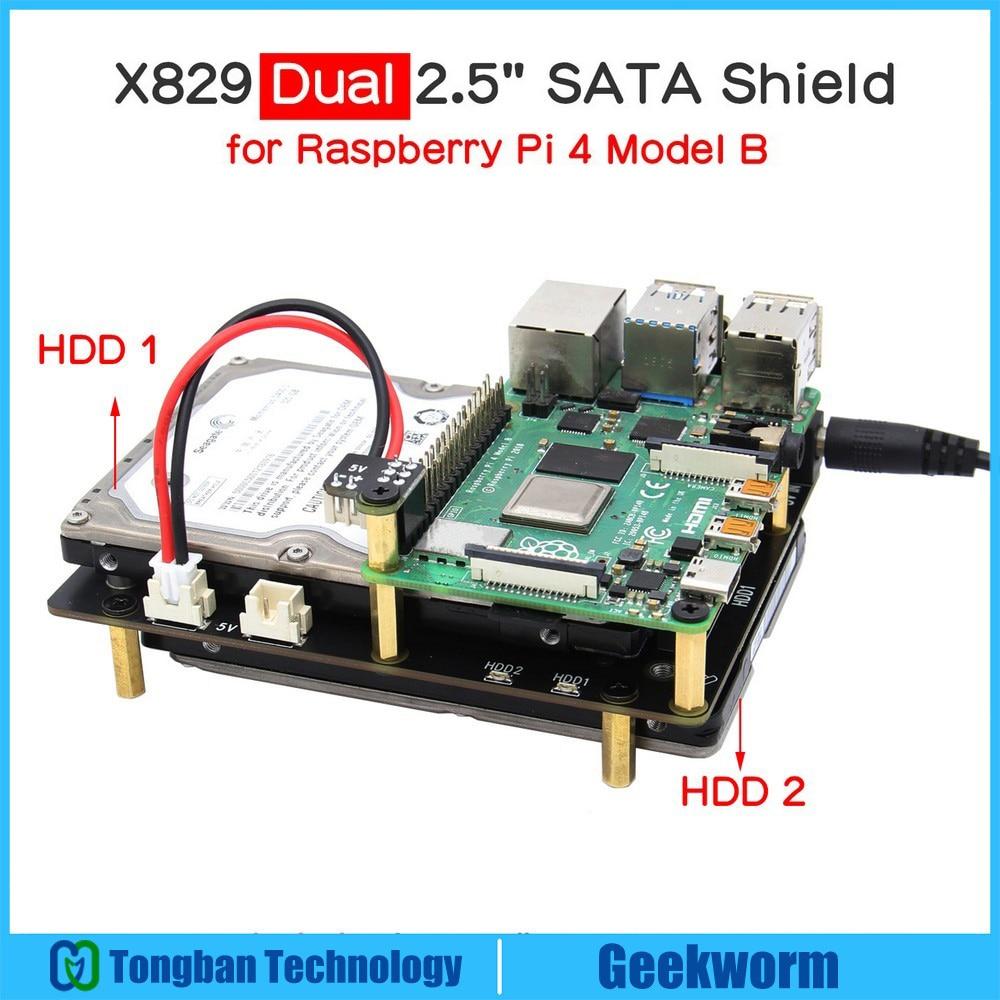 Placa de expansão de armazenamento raspberry pi x829, 2.5 polegadas sata ssd/hdd, x829 usb 3.1 escudo para raspberry pi 4 modelo b