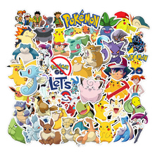 50pcs Various Pokemons Stickers For Luggage Skateboard Phone Laptop Moto Bicycle Wall Guitar Sticker  DIY Waterproof Sticker