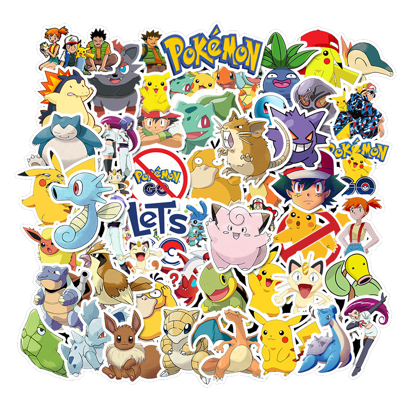 50pcs Various Pokemons Stickers For Luggage Skateboard Phone Laptop Moto Bicycle Wall Guitar Sticker DIY Waterproof Sticker image