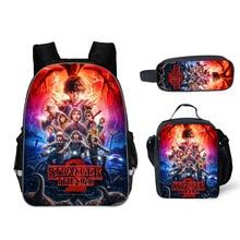 3 PCS Set School Backpack For Teenage Boy Stranger Things Backpack Schoolbag With Pencil Case And Bag Kids School Bag Orthopedic