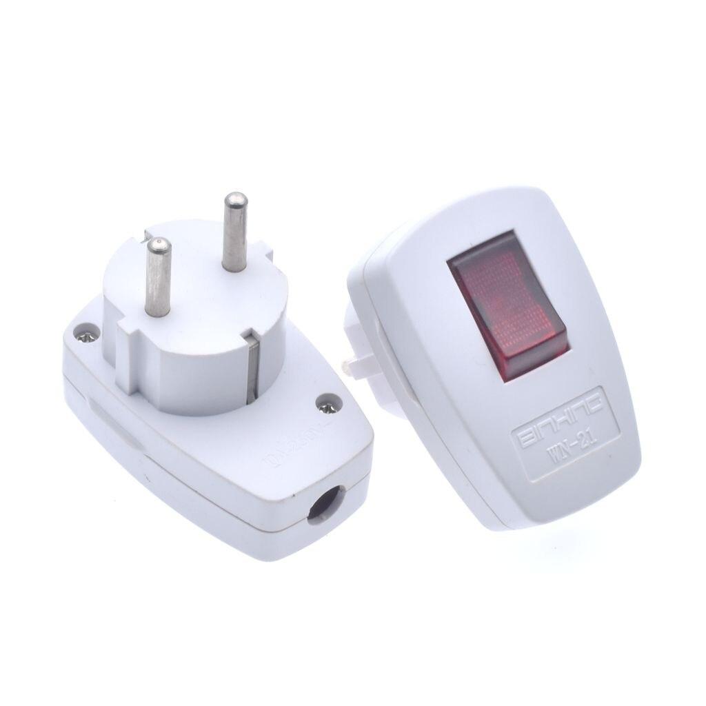 250V 10A AC Schuko Germany Type F Rewireable Power Plug 250V 16 Amp W/ LED Indicator Switch Detachable European Plugs