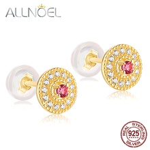 ALLNOEL 925 Sterling Silver Earrings  Women 100% Natural Pink Tourmaline & Emerald 2.2mm Genuine Golden Engagement High Jewelry