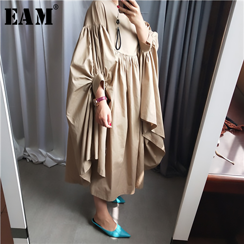[EAM] Women Oversize Pleated Big Hem Dress New Round Neck Three-quarter Sleeve Loose Fit Fashion Tide Spring Autumn 2020 1A456