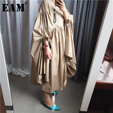 [EAM] Women Oversize Pleated Big Hem Dress New Round Neck Three-quarter Sleeve Loose Fit Fashion Tide Spring Autumn 2019 1A456 army green oversized round neck pleated hem mini dress