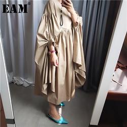 [EAM] Women Oversize Pleated Big Hem Dress New Round Neck Three-quarter Sleeve Loose Fit Fashion Tide Spring Autumn 2019 1A456 1