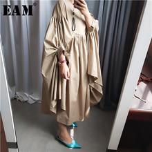 [EAM] Women Oversize Pleated Big Hem Dress New Round Neck Three quarter Sleeve Loose Fit Fashion Tide Spring Autumn 2020 1A456