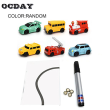 OCDAY Pen Inductive Car Childrens Train Tank Toy Draw Lines Induction Rail Track Enlighten For Kids Gifts Magic Toys