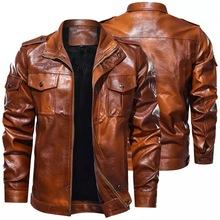 Męska klasyczna kurtka motocyklowa 2020 zimowy polar gruby mężczyzna skórzana kurtka silnik jesień kurtka z zamkiem mężczyzna kurtka na rower rozmiar 5XL tanie tanio STANDARD Suknem Skóra i zamszowe NONE Poliester men jacket men pu leather jacket men motorcycle jacket coat Stałe REGULAR