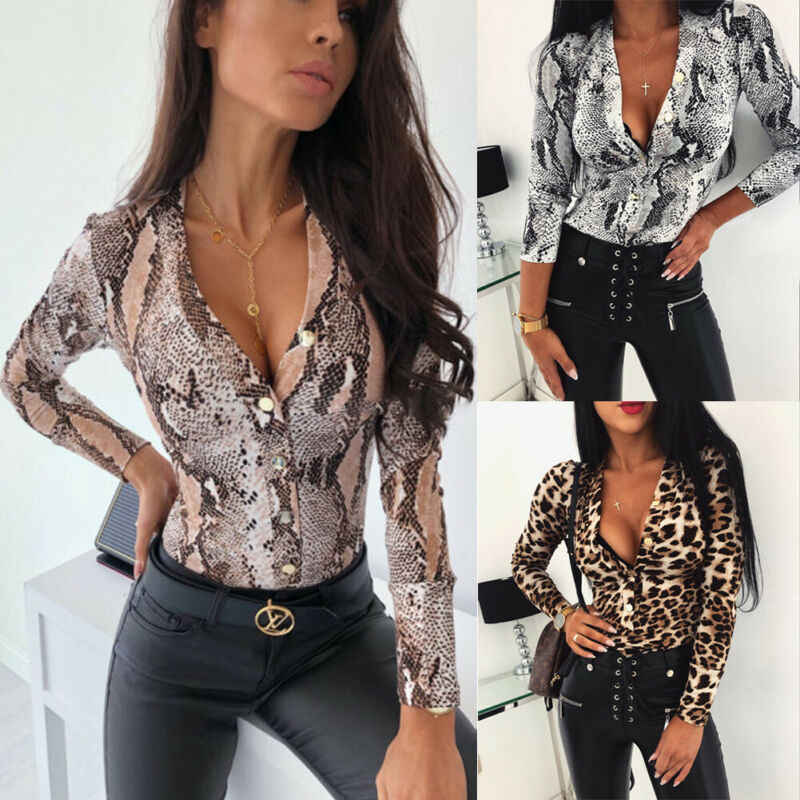 Women Long Sleeve Leopard Skin Prinetd Bodysuit Autumn Casual Jumpsuit Bodysuit Slim V Neck Leotard Tops Fashion Slim Bodysuit