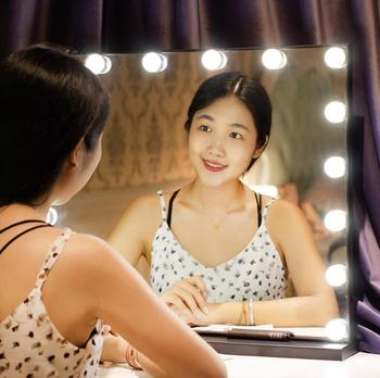 Vanity Hollywood Light Makeup Dressing Table Set Mirrors with Dimmer 3 color Light Cosmetic Mirror Adjustable Touch Screen frameless vanity mirror with light hollywood makeup lighted mirror 3color light cosmetic mirror adjustable touch screen 58 46cm