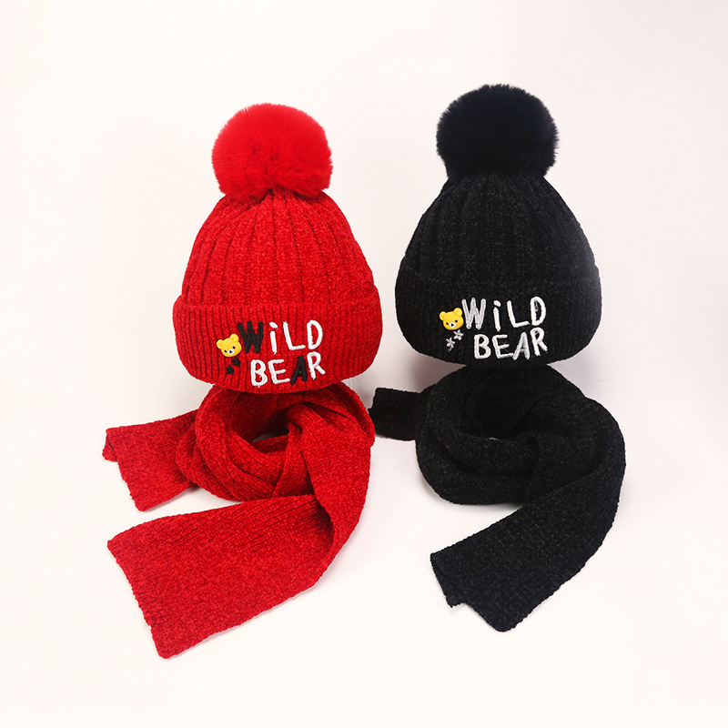 Kids Winter Knitting Scarf And Hat Set Children Chenille Bear Pom Beanies For Girls Boys 3-10yrs Red Black Grey Yellow Pink