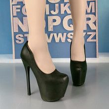 black pointed 16CM shallow mouth high heel
