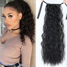 AIYEE 18 дюймов 14 дюймов 90 г конский хвост волосы высокая температура волокна синтетические волосы прямые длинные клип в наращивание волос