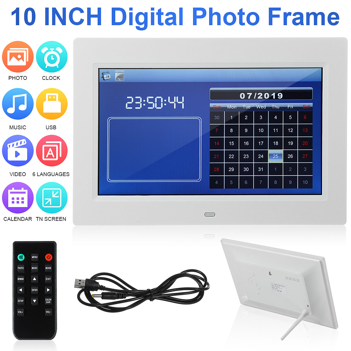 HD 1080P 10 inch Digital Photo Frame Screen LED Backlight Digital Photo Frame Electronic Album Picture Music Movie Full Function image