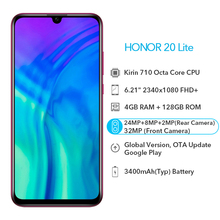 Honor 20 Lite Global Version Smartphone 4GB 128GB Front 32MP Camera 6.21