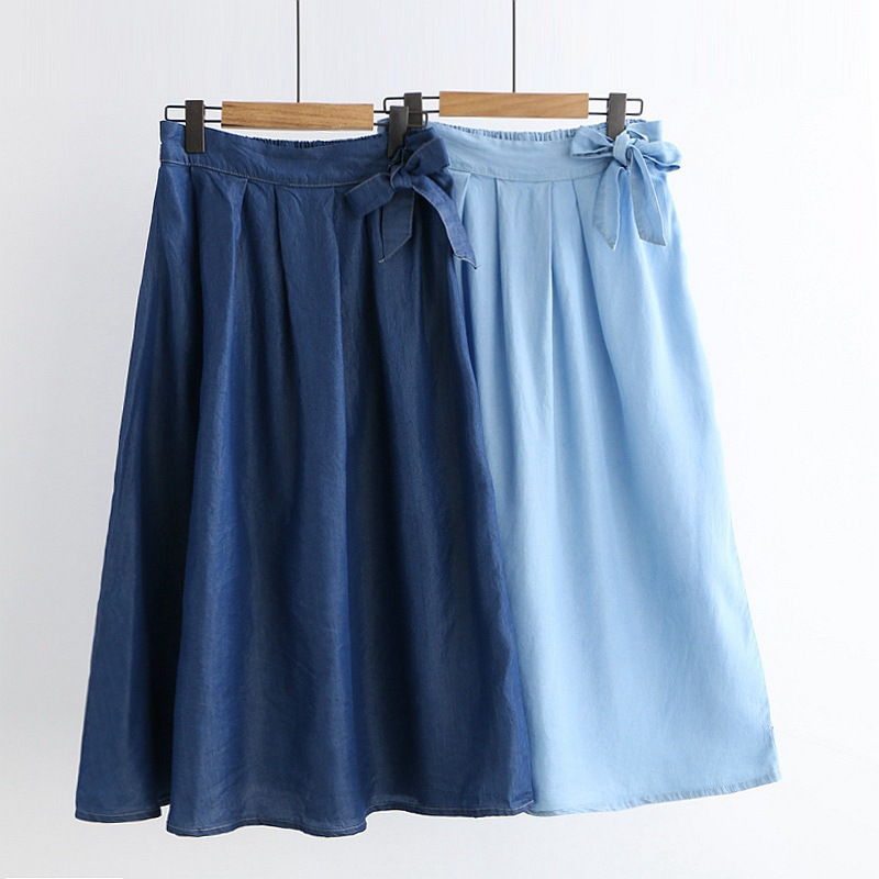 2019 Summer New Style Comfortable Casual High-waisted Lace-up Slimming Solid Color Big Hemline Denim Skirt Long Skirts
