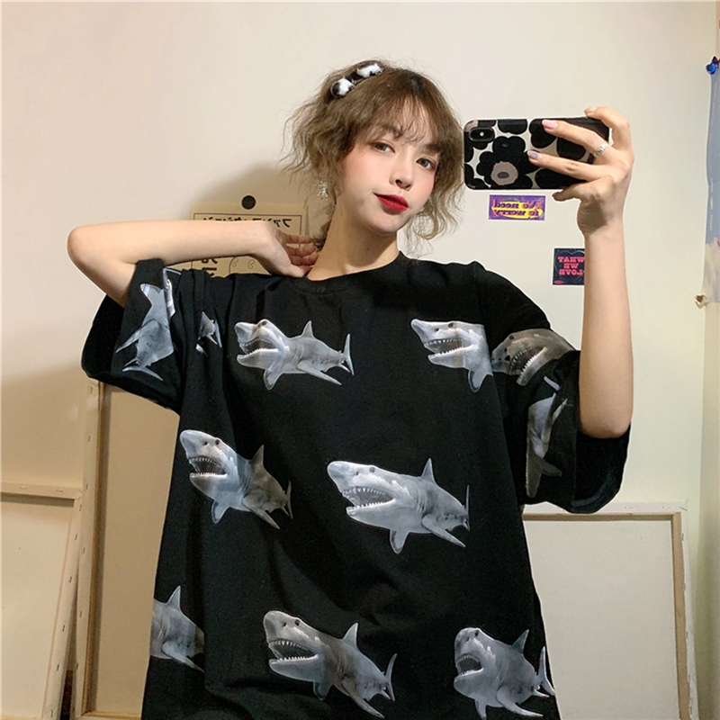 New Top short-sleeved women's tshirt loose was thin oversized half-sleeved clothes tide Korean Harajuku t shirt hip hop brandy(China)