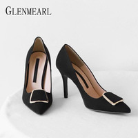 High Heel Pumps Women Shoes Brand Female Thin Heel Metal Decoration Classics Women Pumps Pointed Toe Offical Ladies Shoes DE
