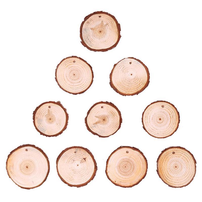 10Pcs Natural Wood Stump Slice Christmas Tree Ornament Hanging Home Decor Craft