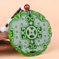 Chinese Green jade Hollow Dragon Pendant Necklace Charm Jewellery Fashion Accessories Hand Carved woman Luck Amulet