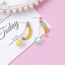 Hello Miss New asymmetric cartoon long earrings cute girl heart fruit stud fashion womens jewelry