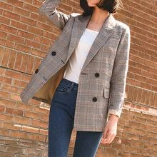 Plaid Vintage Notched Women's Blazer Coats Long Sleeve Double Breasted