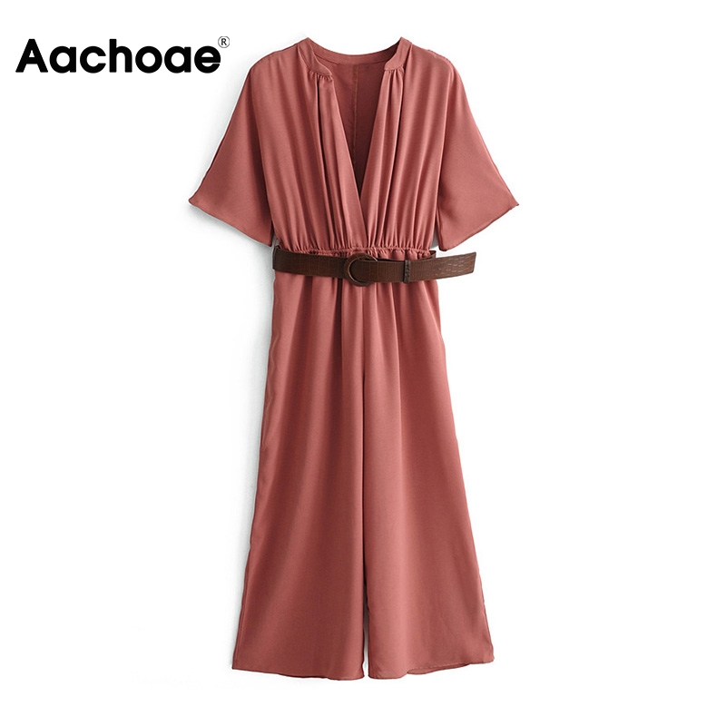 Aachoae Women Solid Bodysuit With Belt 2020 Summer Short Sleeve Casual Wide Leg Jumpsuit Ladies V Neck Loose Playsuit Overalls