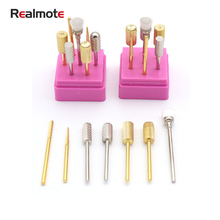 Realmote 7pcs Nail grinding head tools tungsten steel grinding head Set easy to remove nail peeling