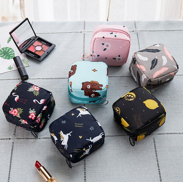 Tampon Storage Bag Sanitary Pad Pouch Women Napkin Cosmetic Bags Organizer Ladies Makeup Bag Girls Lipst Holder Organizer Bag