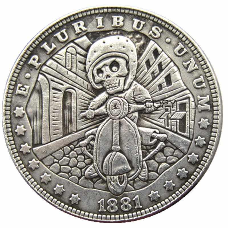 Hb (125)Hobo Usa 1881 Morgan Dollar Skull Zombie Skeleton Verzilverd Kopie Munten