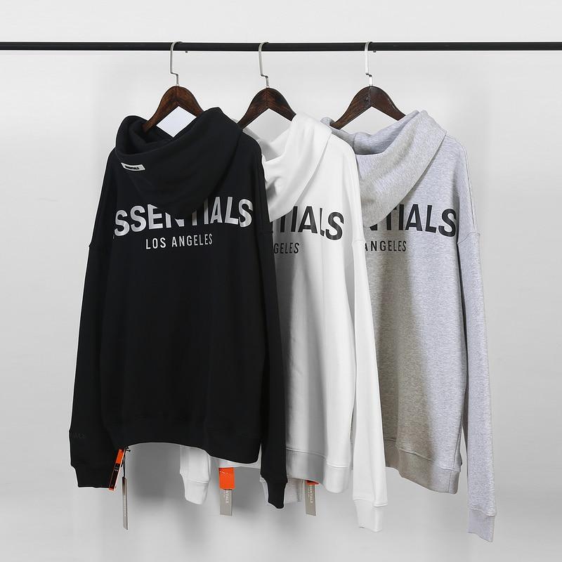 2019 FG ESSENTIALS LOS ANGELS Limited 3M Reflection Logo Print Women Men Hoodies Sweatshirt Hiphop Oversized Men Hoodie Pullover