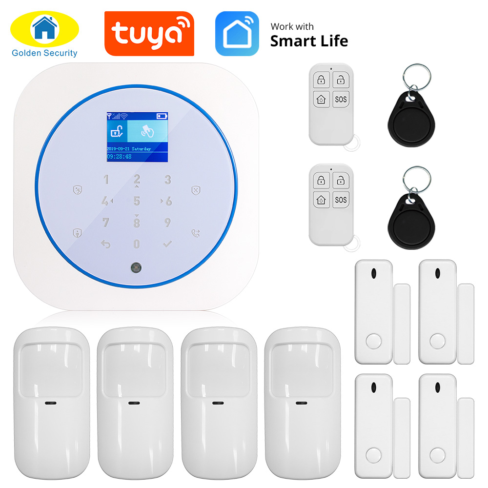 Gold Security WiFi GSM Smart Home Alarm System Suite Tuya App Control Wireless House Security Tamper Protection Security System