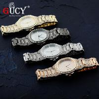 GUCY 힙합 아이스 골드 컬러 시계 쿼츠 럭셔리 풀 다이아몬드 라운드 시계 망 스테인레스 스틸 손목 시계 선물