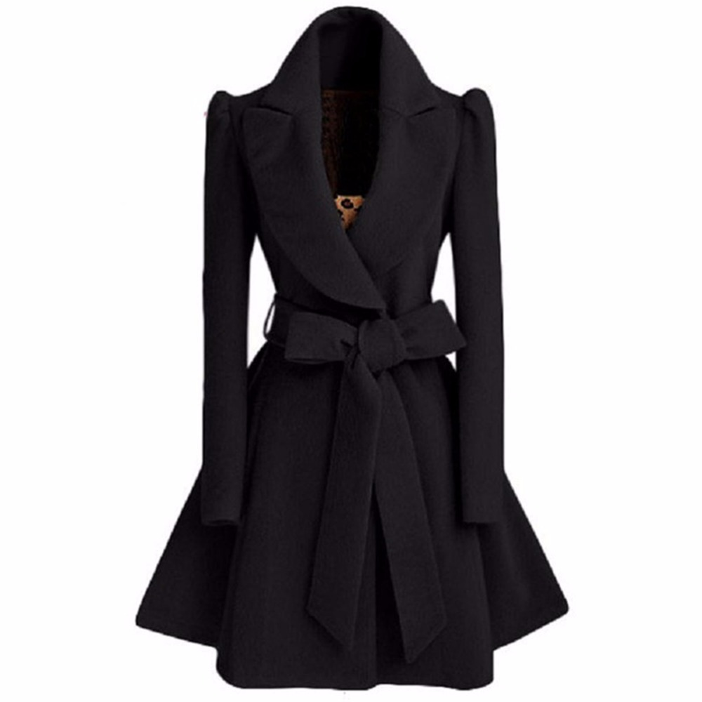 Trench Coat For Women Especially Autumn Winter Blend Coat Woman Slim Long Coats Sweet Bow Belt Windbreaker Cashmere Clothes Red