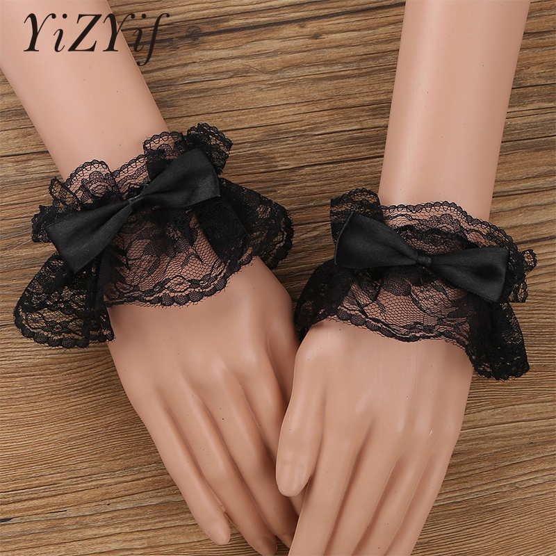 Lace Wrist Cuff Handmade Ruffled Floral Lace Bowknot Wrist Sleeves Decorative Wristband For Women Girls Cosplay Costume Party