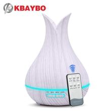 KBAYBO 400ml אוויר מכשיר אדים עם שלט רחוק לבן בצבע עץ ארומה שמן מפזר אוויר מטהר 7 צבעים אפשרויות מנורה עבור בית