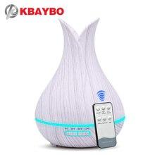 KBAYBO Umidificar de ar de 400ml com controle remoto para casa, madeira granulada branca, difusor de óleo aromático, purificador de ar, lâmpada com opção de 7 cores para casa