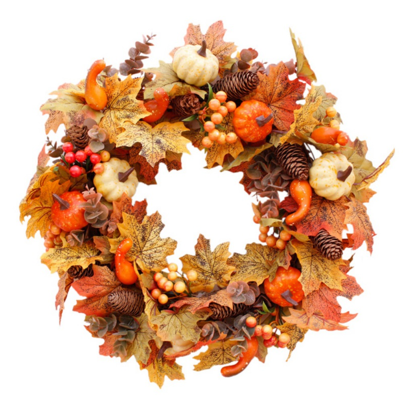 Christmas Thanksgiving Autumn Color Garland Window Restaurant Home Maple Leaf Decoration Ornaments Holiday Pendant Wreath