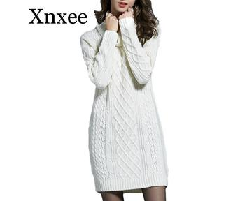2020 Plus Size Knitted Long Sleeve Turtleneck Women Casual Sweater Dresses Autumn Winter Trendy Lady Pullovers Sweater 4XL